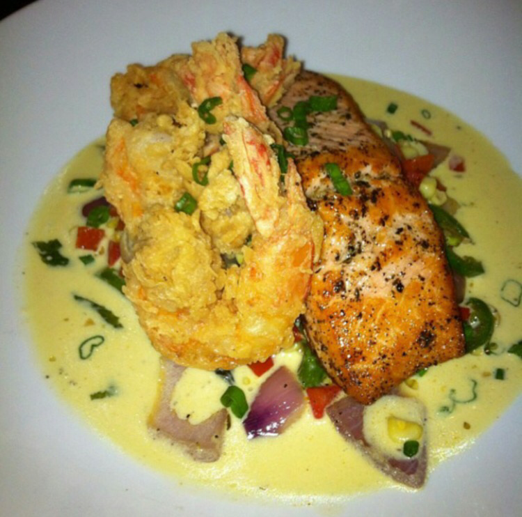 Recipe honey glazed salmon served with curry cream sauce for Creamy sauce served with fish