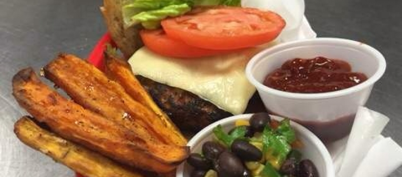 Chef Jojo's Southwest Turkey Burger with Baked Sweet Potato Fries and Chipotle Ketchup