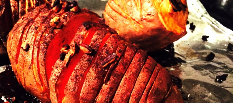 Hassleback Sticky Sweet Potatoes
